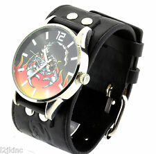 Black Leather Band Punk Scorpion Gothic Biker Watch Bracelet Wristwatch RC10