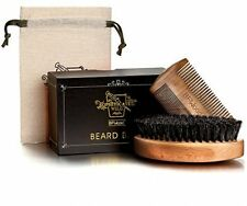 BFWood Beard Brush with Boar Bristle and Comb Set - Military Style