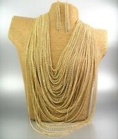 Chunky Multi Strands Gold Metal Chain Necklace Earring Fashion Women Gift
