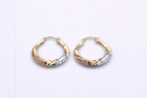 10k Yellow White tri Gold Fine Jewelry Ladies Hoop Earring