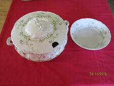 RIDGWAYS Mobile Royal Semi-porcelain tureen w/lid,soup bowl gilt,pink floral