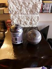 STAR WARS  PAIR OF METAL TINS R2-D2 DEATHSTAR