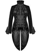 Devil Fashion Womens Goth Tailcoat Jacket Black Velvet Brocade Damask Steampunk