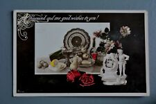 R&L Postcard: Greetings, 1908 Aristophot, Antique Pottery Still Life Scene