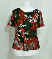 Floral top sheer lined cowl neck Size 14 Debenhams Ex Con