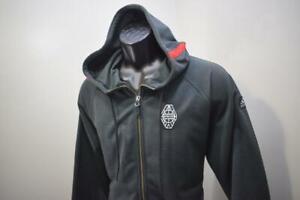 Rare Adidas Uprising Hoodie Dark Gray Full Zip Striped Athletic Mens Size Large