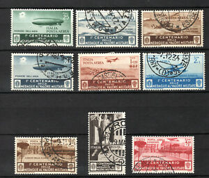 ITALY 1934 ITALIAN  AIR AEREA COMPLETE SET OF USED STAMPS PMK INTEREST