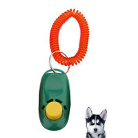Pet Dog Cat Click Clicker Training Aid Obedience Wrist Strap Green