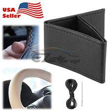 Black Dot PVC Leather DIY Car Steering Wheel Cover With Needles and Thread