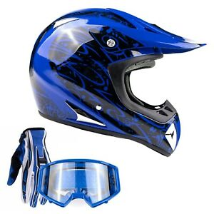 Blue Adult Motocross Helmet Combo Blue Gloves Goggles OffRoad DirtBike ATV DOT