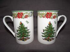 Set of 2 Spode Christmas Tree Tall Poinsettia Accent Mugs