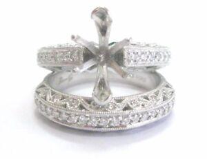 Simon G Platinum Diamond Wedding Semi Mount Set .62CT