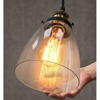 2x Modern Vintage Victorian Bronze Metal Ceiling Pendant Glass Lamps Shade Set