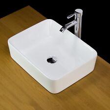 Basin Sink Vanity Bathroom Ceramic Counter top Bowl Square Cloakroom Tap 334 KLn