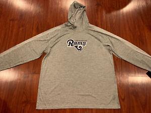 Majestic Men's LA Los Angeles Rams Hoodie Long Sleeve Jersey Shirt XXL 2XL NFL