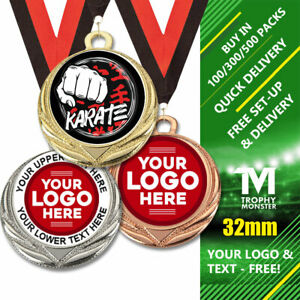 PACK 100x KARATE METAL MEDALS 32mm & RIBBONS OWN LOGO TEXT BULK DEAL GOLD SILVER
