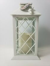 White Decorative LED Lantern with Pillar Candle Indoor and Outdoor Lantern