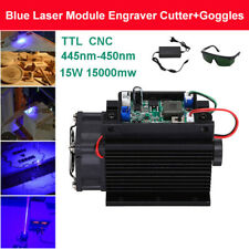 DIY Powerful 15W 450nm 15000mW Blue Laser Module DC 12V TTL CNC Fan with Goggles