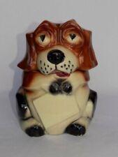 Vtg McCoy Art Pottery Beagle Dog Holding Blank Sign Cookie Jar