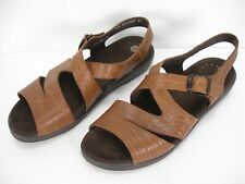 MEPHISTO TEXTURED BROWN LEATHER STRAPS OPEN TOE SANDALS SHOES WOMEN'S 41