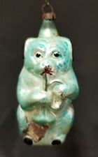 """Rare Vintage German 1920's Dog Playing a Horn Glass Ornament 3.5"""""""