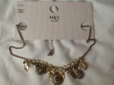 MARKS AND SPENCER GOLD COLOURED TRINKET LADIES NECKLACE  16in
