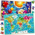 Wooden Jigsaw Puzzles for Kids Ages 3-5 by – World Map and Space Puzzles with