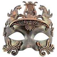 Mens Masquerade Mask Roman Gladiator Venetian Warrior Mask Rustic Gold GM001GD