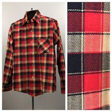 1960s Button Down Shirt / 60s Plaid Checked Cotton Flannel Shirt / Men's Small