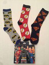 DC Comics Crew Socks New Size 6-12 Superman Flask Gift Box 3 Pair Justice League