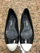 CHANEL Black White Patent Leather Ballet Flat Shoes
