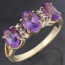 Solid 9k Yellow GOLD Oval Purple AMETHYST TRILOGY & 4 Diamond ETERNITY RING Sz O