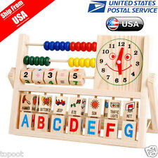 Children Baby Kids Learning Developmental Versatile Flap Abacus Wooden Toys US