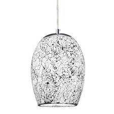 Searchlight 1 Light White Crackle Glass Pendant Chandelier Ceiling Fitting New