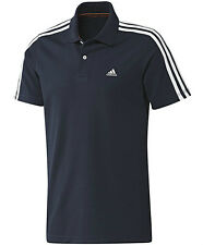 Mens adidas Essentials 3 Stripe Climalite Cotton Polo T Shirt Black XS