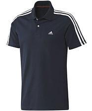 New Mens Adidas Essentials Climalite 3 Stripe Polo Shirt T-Shirt - Navy Blue