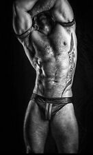Jockstrap Genuine Leather Men Underwear Jock Front Zipper Size Large