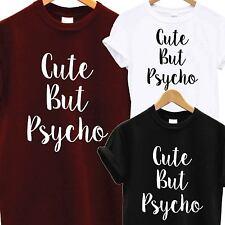 CUTE BUT PSYCHO T SHIRT Tee Top Cool Funny Novelty Fun Logo Zoella Slogan Gift