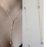Rhinestone Necklace Y Drop Choker Lariat Slider Crystal CZ Dainty Gold Silver