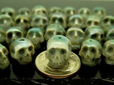 Skull Bead Rare Intricate High Detail Hand Carved Blue Genuine Pearl Small Hole