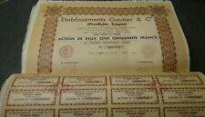 280 emprunts/actions de 250 frs Éts Gauthier & Cie Produits sagas -  1931