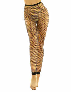 Fashion Womens Black Fishnet Footless Stretchy Stockings Sexy See Through Tights
