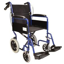 Lightweight folding Transport aluminium travel wheelchair + attendant handbrakes