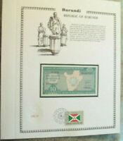 Burundi Banknote 10 Francs 1981 P 33a UNC with UN FDI FLAG STAMP Prefix P