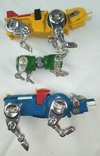 Vintage VOLTRON Diecast Blue Lion, and Yellow Lion,Small Green Lion,Mouth Blade
