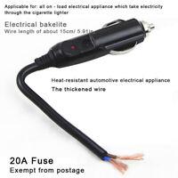 12V 24V Male Car Cigarette Lighter Socket Plug Connector W/ 20A Fuse Red LED