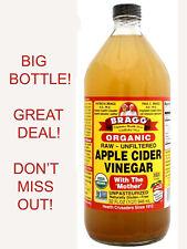 Organic Raw Apple Cider Vinegar 32 fl oz Bragg Organic Apple Vinegar ACV Mother