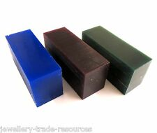 GREEN + PURPLE + BLUE CARVING WAX BLOCKS JEWELLERY LOST WAX CASTING PACK OF 3