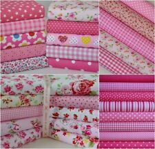PINK FABRIC SCRAPS OFF CUTS REMNANTS 20 PIECES POLY COTTON PATCHWORK CRAFT