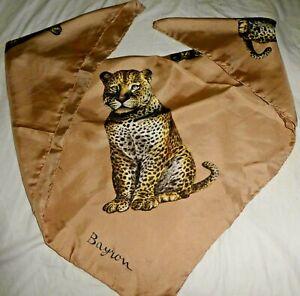 "BAYRON Animal Print Leopard Tan Silk Square Scarf 29"" DR"